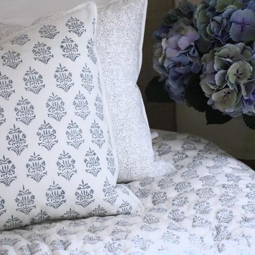 block print quilts, handmade quilts, block print fabrics, blue quilts, block print bedding, shenouk, luxury bedding, English block print