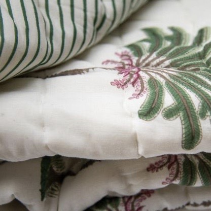 block print quilts, luxury quilts, palm tree, palm tree block print, palm tree bedding, shenouk, luxury bedding, Indian block print, English block print, online shopping block print, online shopping bedding, online shopping quilts