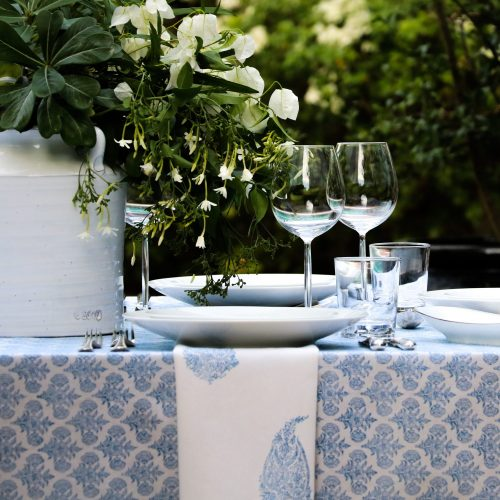 block print table linen, block print tablecloth, blue tablecloth, block print textiles, online block print, luxury table linen, shenouk, Indian textiles, Indian block print, English block print, English tablecloth
