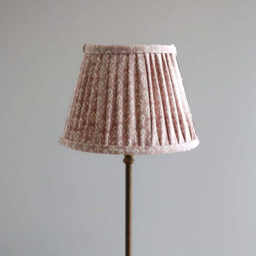 block print lampshades, Indian block print, English block print, online shopping block print, pink lampshade, pink block print, shenouk, luxury block print, luxury lampshade, luxury lighting, premium lampshades, dusty pink lampshade