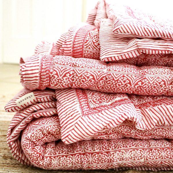 block print quilts, Indian block print, block printing, pink block print, block print bedding, shenouk, luxury bedding, luxury quilts, online shopping quilts, online shopping block print
