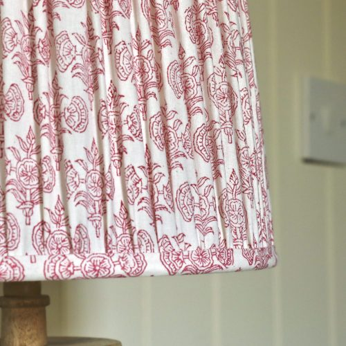 block print lampshades, luxury lampshades, shenouk, Indian block print, block print lighting, premium lampshades, online shopping block print, shenouk, pink lampshades, pink block print