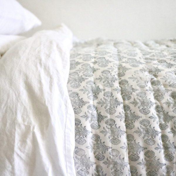shenouk bedding, block print bedding, English block print, block print quilts, handmade quilts, luxury bedding, block print fabrics, Indian quilts