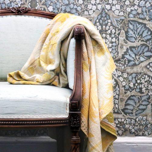 Kantha quilt, Bengali blanket, vintage quilt, Indian block print, Indian Kantha, Kantha throw, yellow Kantha, English blanket, country home decor, online shopping Kantha