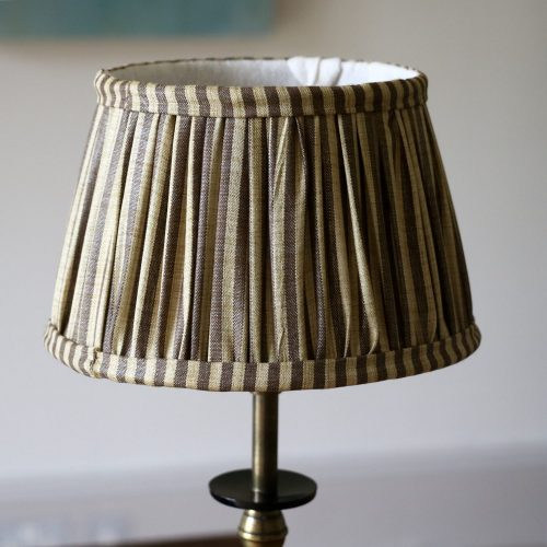 online shopping block print, block print lampshade, gathered lampshade, online shopping lampshades, English lampshades, striped lampshades, striped block print