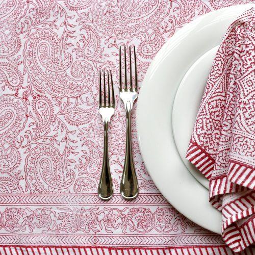 block print tablecloth, block print table linen, luxury table linen, luxury tablecloth, Indian block print, paisley block print, block print tablecloth, Indian block print, paisley tablecloth, shenouk
