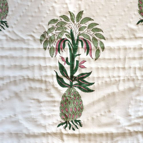 block print textiles, Indian block print, English block print, shenouk, luxury linens, luxury bed linen, luxury bedding, luxury quilt, pineapple block print, pineapple quilt, pineapple bedding, block print quilt, block print bedding, online block print