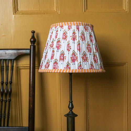 shenouk, lampshades, block print, Indian block print, luxury lampshades, premium lampshades, handmade lampshades, English block print, English country home, English decor, pleated lampshades