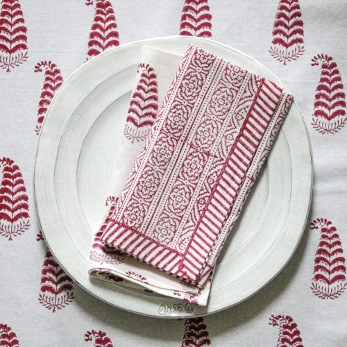 table linen, block print, indian block print, ling tablecloth, luxury table linen, shenouk, tablecloths, table linen, made by hand, artisanal, poppy, pink, Indian motif, block print tablecloth, pink table linen, pink tablecloth