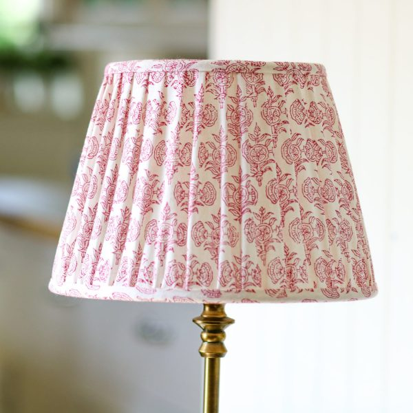 block print lampshades, luxury lampshades, shenouk, Indian block print, block print lighting, premium lampshades, online shopping block print, shenouk, pink lampshades, pink block print