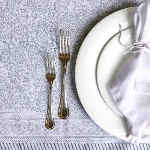 block print tablecloth, block print table linen, luxury table linen, luxury tablecloth, Indian block print, paisley block print, paisley tablecloth, shenouk