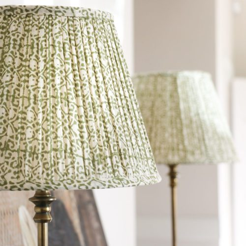 block print textiles, block print lampshades, block print lighting, online shopping lampshades, shenouk, luxury lighting, premium lampshades, green lampshades, gathered lampshades, online block print, Indian block print, English block print