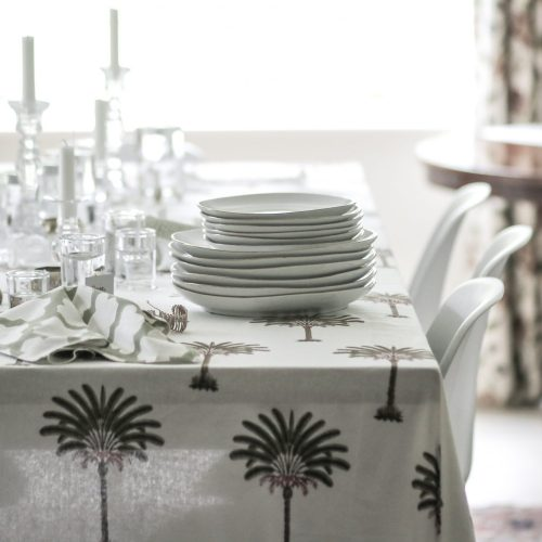 block print tablecloth, block print palm tree, block print textiles, online shopping tablecloth, pineapple fabric, Indian block print, English block print, luxury table linen