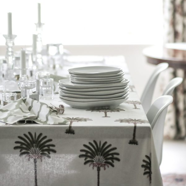 block print tablecloth, block print palm tree, block print textiles, online shopping tablecloth, pineapple fabric, Indian block print, English block print, luxury table linen