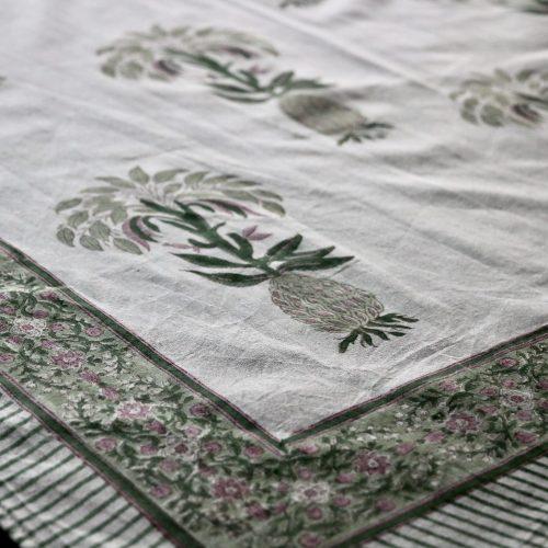 pineapple tablecloth, block print pineapple, block print table linen, pineapple, luxury table linen, online block print table linen, English block print, shenouk, pineapple table
