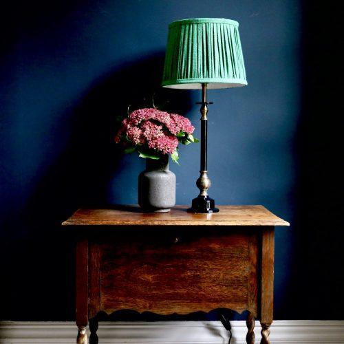 block print lampshade, gathered lampshade, online shopping lampshades, English lampshades, silk lampshades