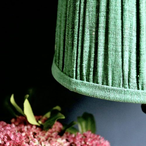 block print lampshade, gathered lampshade, online shopping lampshades, English lampshades, silk lampshades