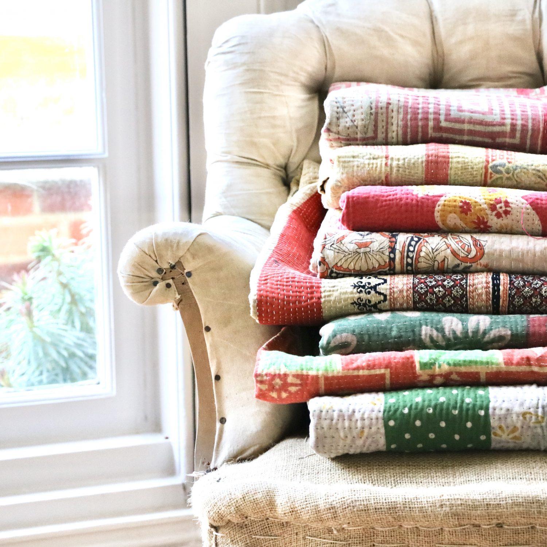 kantha, Kantha blankets, Indian Kantha, block print fabrics, block print textiles, Kantha in the UK, Bengali blankets, online Kantha