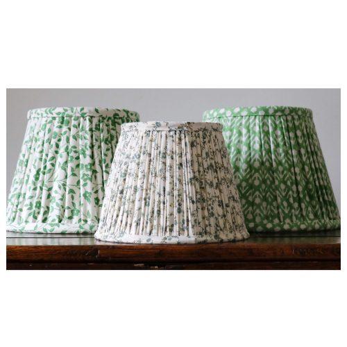 block print lampshades, green lampshades, green block print, Indian block print, shenouk, luxury lampshades, premium lampshades, online shopping lampshades