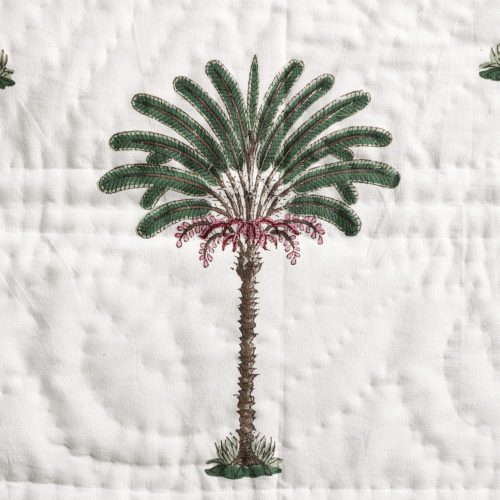 block print cushion, block print textiles, Indian block print, palm tree cushion, palm tree block print, shenouk, luxury homewares, luxury block print
