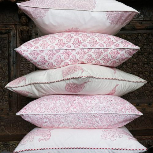 indian block print, block print cushion, online uk block print, shenouk, block print cushions, pink cushions, online shopping block print