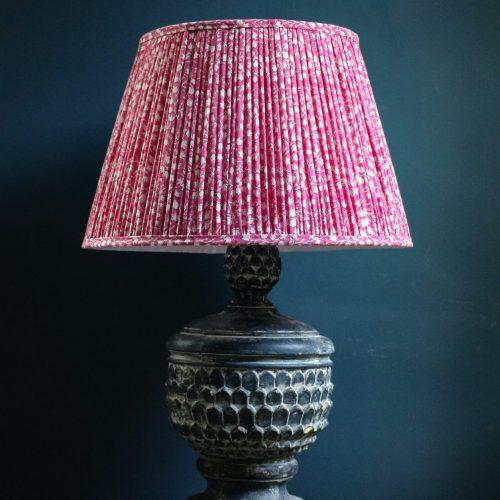 lampshade, pleated lampshade, pink lampshade, luxury lampshades, premium lampshades, gathered lampshades, indian block print, shenouk, English block print, English home decor, Chattanooga