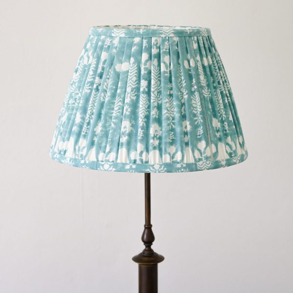 lampshades, pleated lampshade, blue lampshades, green lampshade, luxury lampshades, premium lampshades, gathered lampshades, indian block print, shenouk, English block print, English home decor, ChouChou