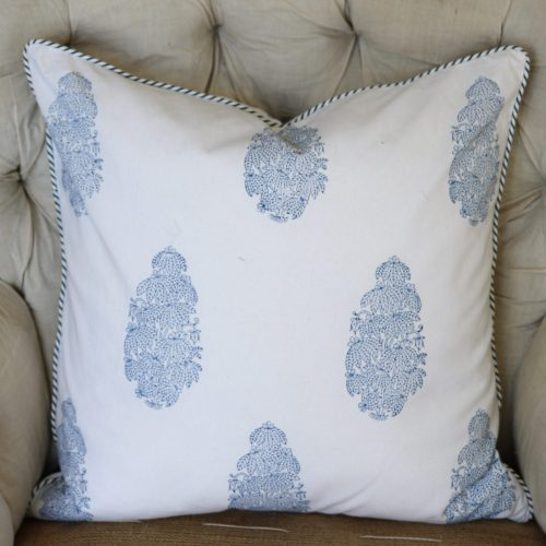 indian block print, block print, English block print, banana tree, cushion covers, sapphire, shenouk