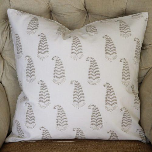 Ling Cushion Cover, beige cushion cover, block print cushion covers, cushion covers, indian block print, shenouk