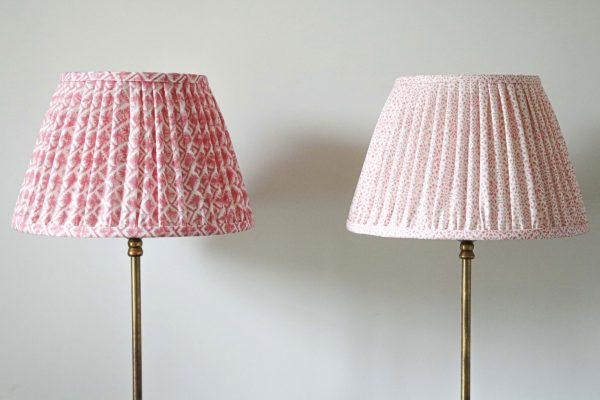 lampshade, pleated lampshade, pink lampshade, luxury lampshades, premium lampshades, gathered lampshades, indian block print, shenouk, Kiki, English block print, English home decor