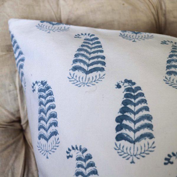 Ling Cushion Cover, blue cushion cover, block print cushion covers, cushion covers, indian block print, shenouk