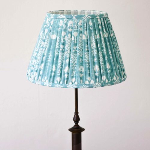 lampshades, pleated lampshade, blue lampshades, green lampshade, luxury lampshades, premium lampshades, gathered lampshades, indian block print, shenouk, English block print, English home decor, ChouChou