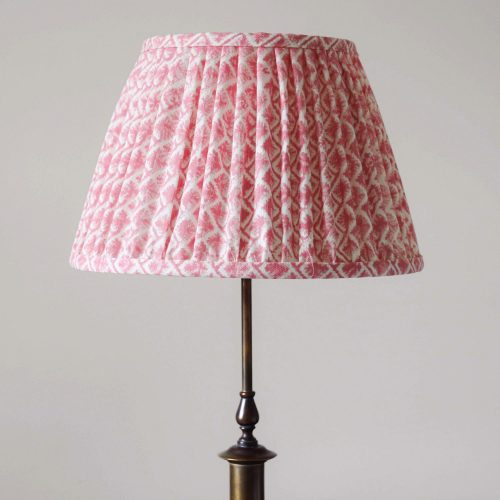 lampshade, pleated lampshade, pink lampshade, luxury lampshades, premium lampshades, gathered lampshades, indian block print, shenouk, English block print, English home decor, Ulrika