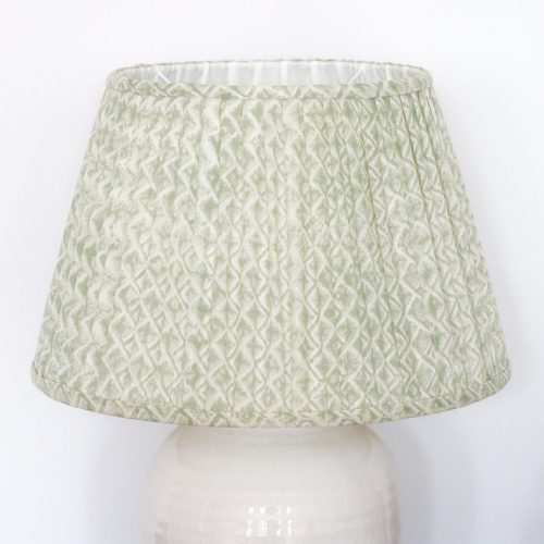 lampshade, pleated lampshade, luxury lampshades, premium lampshades, gathered lampshades, indian block print, shenouk, English block print, English home decor, online lampshades, Ulrika, green lampshades