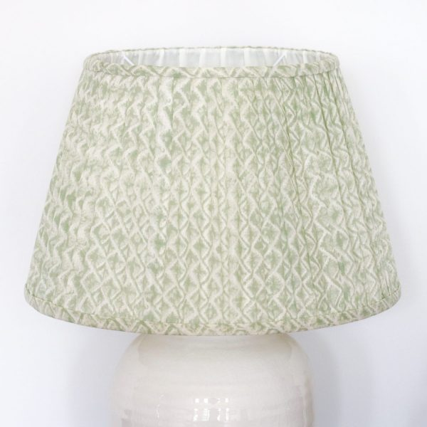 lampshade, pleated lampshade, luxury lampshades, premium lampshades, gathered lampshades, indian block print, shenouk, English block print, English home decor, online lampshades, Ulrika, green lampshades