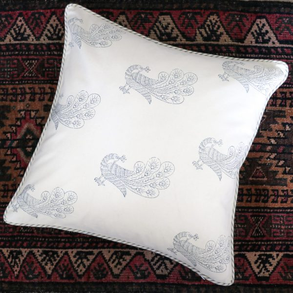 block print, shenouk, block print cushions, indian block print, English block print, cushion covers, peacocks