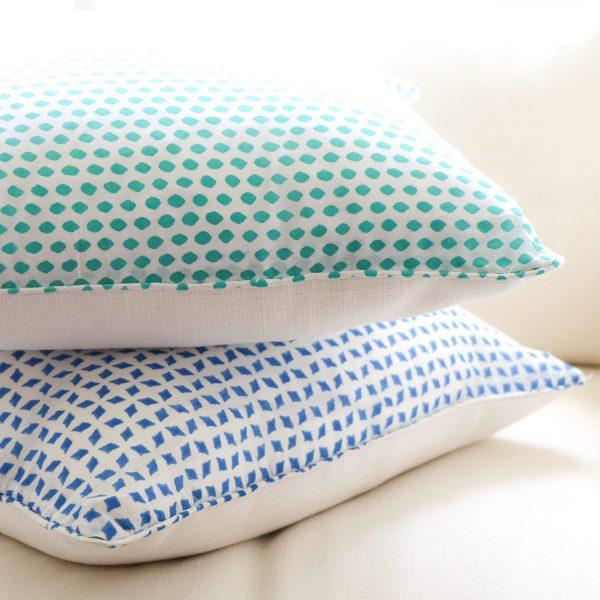 block print, shenouk, block print cushions, indian block print, English block print, cushion covers, sapphire