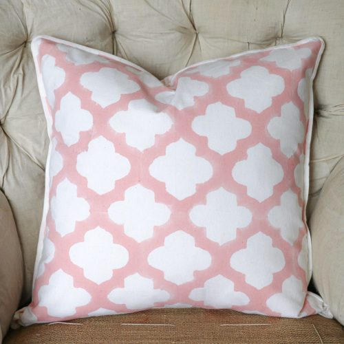 block print, shenouk, block print cushions, indian block print, English block print, cushion covers, arabesque, lattice, pink
