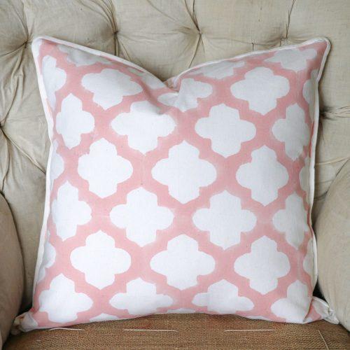 block print, shenouk, block print cushions, indian block print, English block print, cushion covers, arabesque, lattice, pink