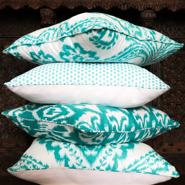 shenouk, cushion covers, Indian screen print, English homewares, ikat cushions, screen print