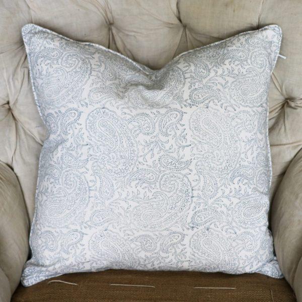 block print, shenouk, block print cushions, indian block print, English block print, cushion covers, paisley cushion cover, online shopping block print, English interiors