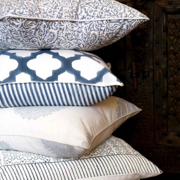 block print, shenouk, block print cushions, indian block print, English block print, cushion covers, blue cushions
