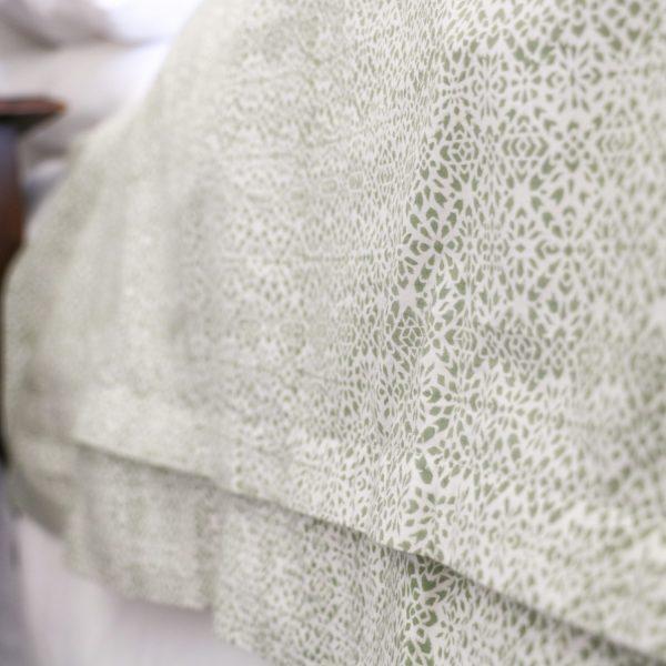 shenouk, block print, indian block print, English block print, online shopping block print, exclusive block print design, block print duvet covers, block print bedding, Kiki design, green duvets