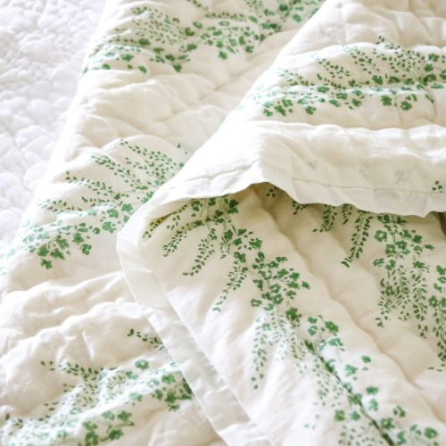shenouk, block print, English interiors, country home interiors, English home fabrics, indian block print, English block print, online shopping block print, exclusive block print design, block print quilts, block print bedding, floral quilts, green quilts