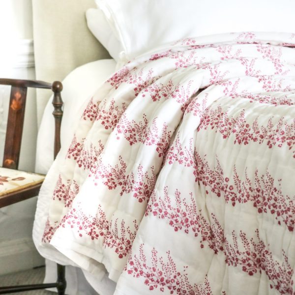 shenouk, block print, English interiors, country home interiors, English home fabrics, indian block print, English block print, online shopping block print, exclusive block print design, block print quilts, block print bedding, floral quilts, pink quilts