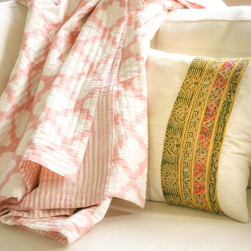 pique bedcover, bedding, quilt, luxury bedding, block print, block print quilt, block print bedcover, indian textiles, shenouk, pink quilts, online shopping block print, online shopping uk block print, online shopping quilts