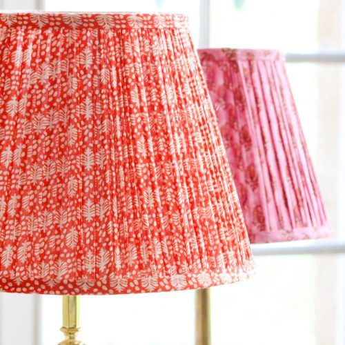 block print lampshades, block print, shenouk, luxury lampshades, gathered lampshades, English interiors, English country home decor, pleated lampshades, shenouk, premium lampshades, online shopping block print, online shopping lampshades, Indian textiles, English block print, indian block print