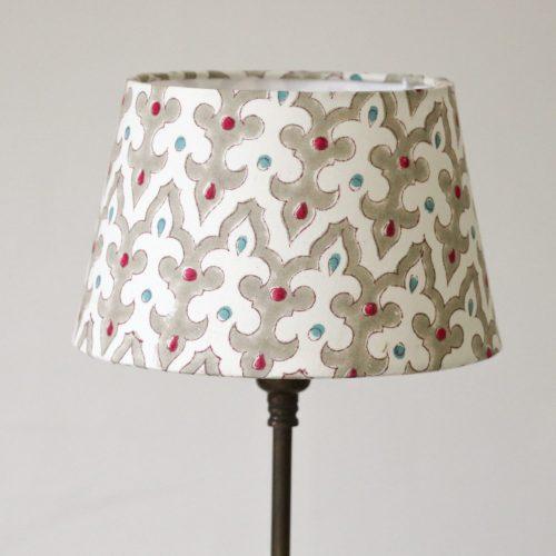 block print, block print lampshades, English interiors, English lampshades, gathered lampshades, indian textiles, country house decor