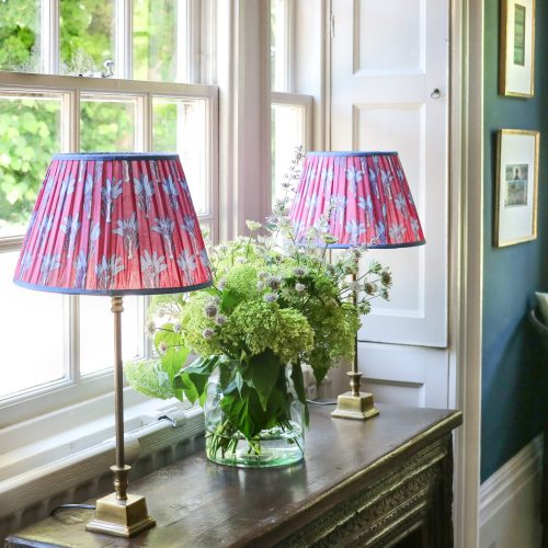 block print, block print lampshades, English interiors, English lampshades, gathered lampshades, indian textiles, country house decor, online shopping uk, online block print uk, block print lampshades, indian block print lampshade, luxury lighting, shenouk, online lampshade