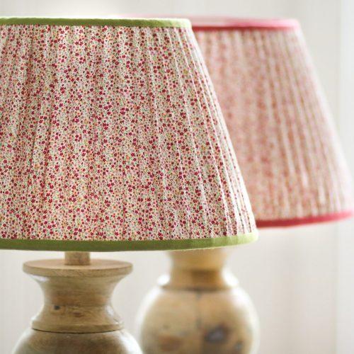 shenouk, lampshades, gathered lampshades, pink, flowers, fabric lampshades, uk lampshades, online lampshade, online English lampshades